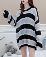 Loose thick stripe thin autumn sweater for women