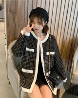 Coarse flower plaid fashion and elegant mixed colors coat