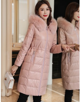 Slim fur collar leather coat long down cotton coat for women