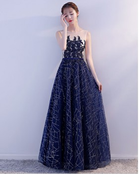 Banquet elegant host dress starry sky perform evening dress