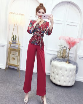 Slim culottes floral wide leg pants 2pcs set for women