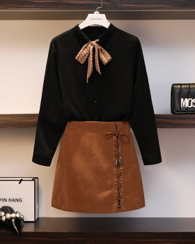 Slim Western style short skirt 2pcs set for women