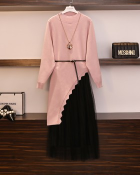 Western style skirt sweater 2pcs set for women