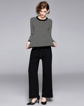 Knitted stripe long pants fashion tops a set