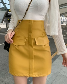 Package hip slim leather skirt autumn skirt for women