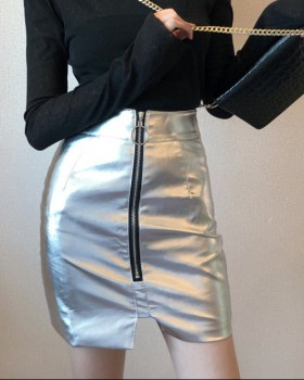 Zip high waist leather skirt package hip short skirt