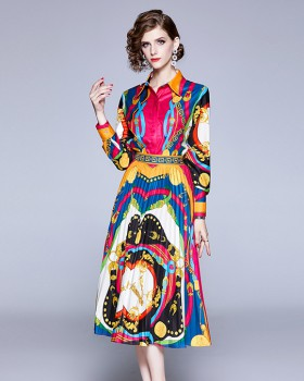 Pleated printing skirt long long sleeve tops 2pcs set