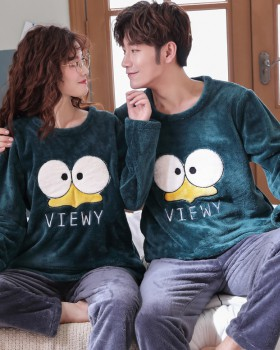 Flannel loose couples homewear pajamas 2pcs set