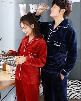 Homewear thermal autumn and winter couples pajamas a set