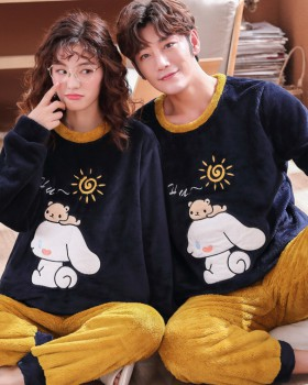 Autumn and winter thermal flannel loose pajamas 2pcs set
