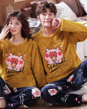 Couples long sleeve flannel autumn and winter pajamas 2pcs set