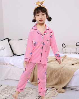 Long sleeve child knitted cotton pajamas a set