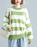 Round neck loose all-match horizontal stripes pullover sweater