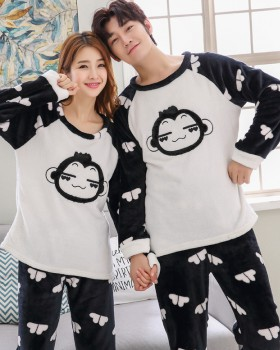 Homewear couples loose thin pajamas 2pcs set