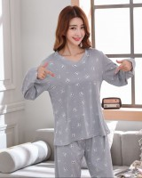 Thin spring and autumn lovely cat student pajamas 2pcs set