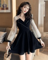 Lace embroidery suit collar autumn feather dress