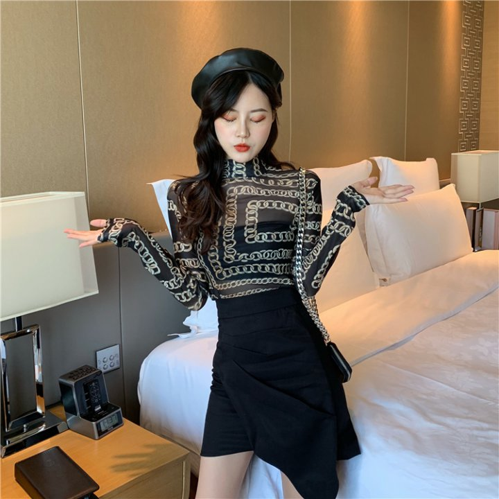 Perspective gauze long sleeve T-shirt printing sexy tops for women