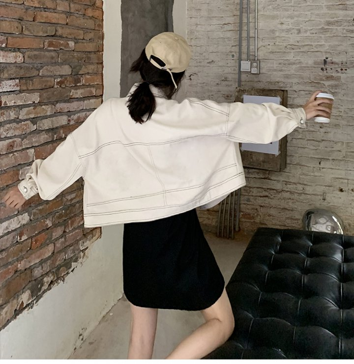 Beige denim short work clothing loose autumn splice tops