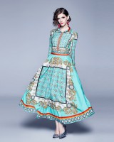 Big skirt court style retro long printing dress