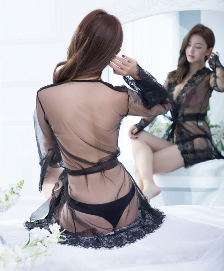 At home lace Sexy underwear summer coat a set