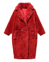 Autumn and winter classic business suit lambs wool long coat