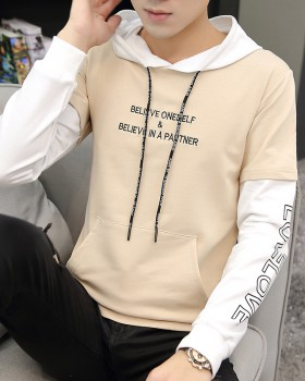 Korean style hooded hoodie embroidery coat for men