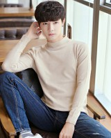 Korean style slim autumn pure sweater for men