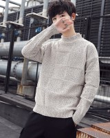 Wool loose half high collar Korean style sweater