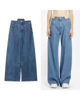 Straight handsome wide leg pants loose spring jeans