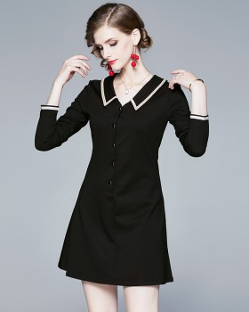 V-neck European style slim pinched waist dress