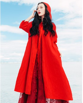 Cotton linen hooded coat big red travel cloak for women