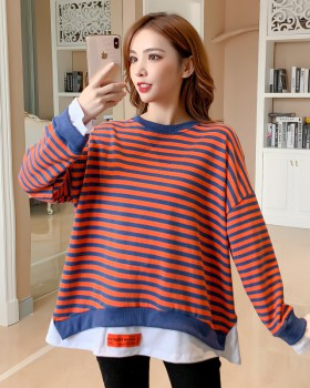 Autumn loose hoodie long sleeve splice tops for women