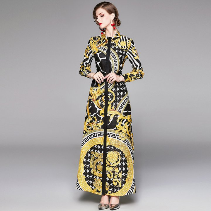 Pinched waist lapel dress printing long dress