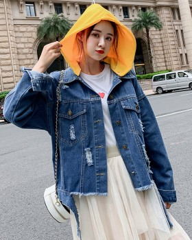 Patch cat Pseudo-two holes hooded mixed colors denim coat