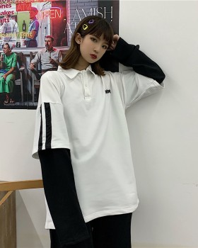 Splice Pseudo-two shirts long sleeve tops for women