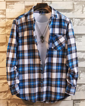 Plaid Casual long sleeve flannel pure cotton shirt