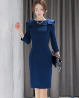 Autumn lotus leaf collar package hip profession dress