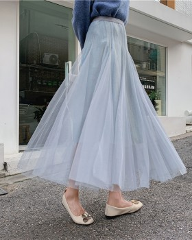 Autumn and winter gauze pleated long big skirt skirt