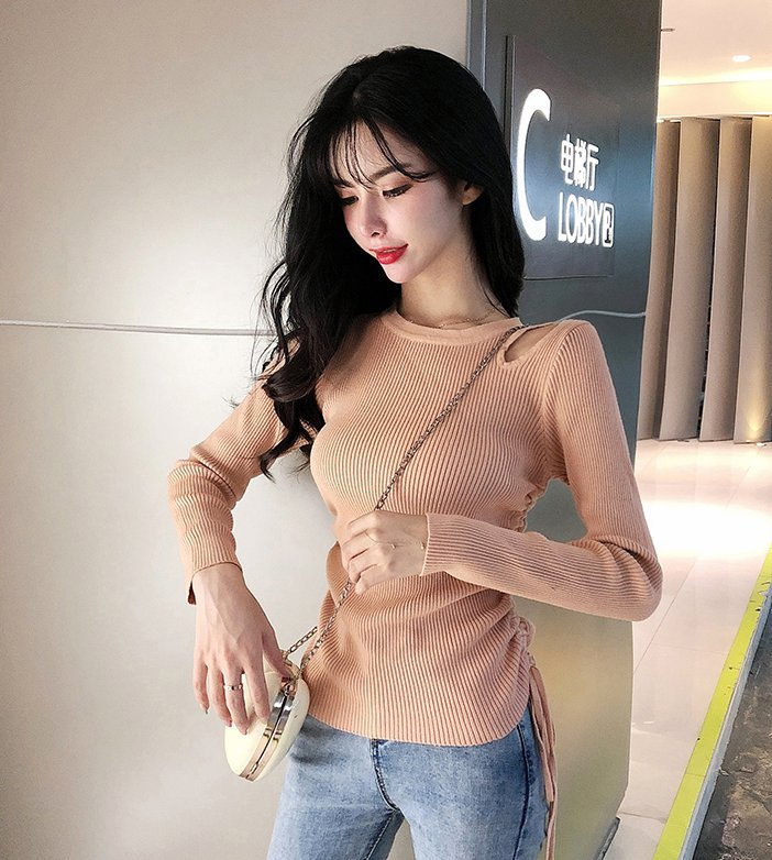 Slim Western style hollow sexy pullover sweater for women
