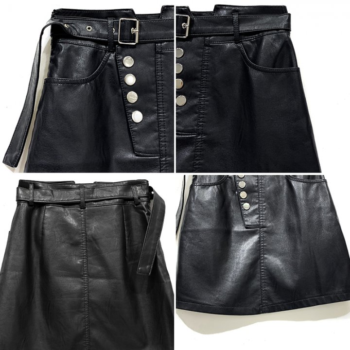 Small autumn short skirt Korean style leather skirt