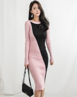 Mixed colors dress Korean style sweater dress for women