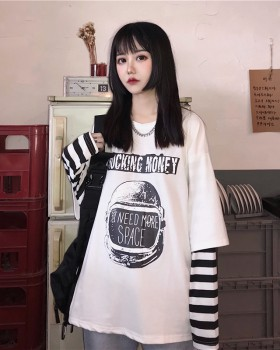 Pseudo-two loose tops Korean style scales hoodie for women