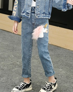 Girl child jeans big child long pants