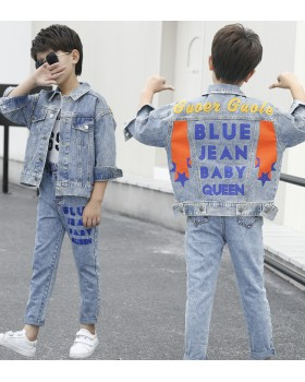 Denim big child letters boy child kids 2pcs set