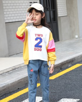 Big child girl sports fashion autumn splice hoodie 2pcs set