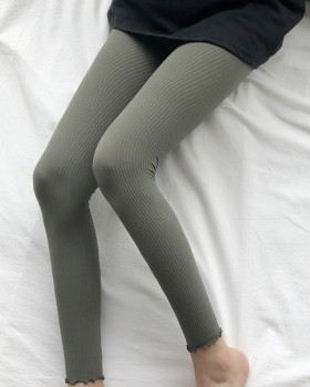 Vertical bars nine pants wood ear tights