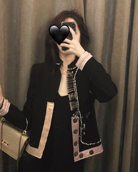 Slim mixed colors business suit autumn black diamond jacket