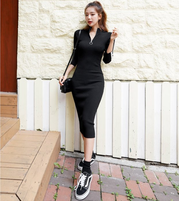 Long temperament knitted slim letters dress