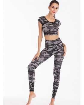 Fitness camouflage sexy sportswear 2pcs set for women