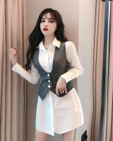 Long autumn small vest fashion slim shirt a set